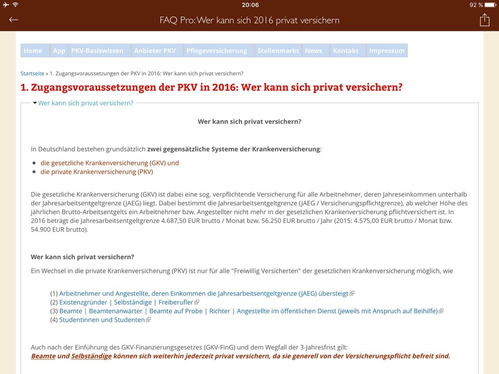 App PKV-Wiki Pro | Internetportal PKV-Wiki als App | pkv.wiki